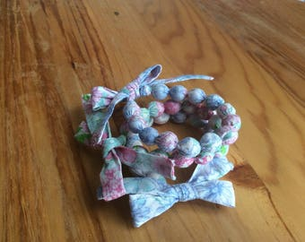 Fabric balls bracelets and Liberty inspired wooden beads