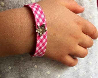 Daughter bracelet liberty Butterfly pink gingham