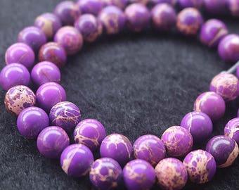 Purple Sea Sediment Jasper, Smooth Round Beads,15'' per strand 6mm 8mm 10mm 12mm
