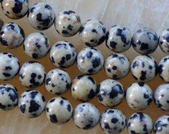10 Dalmatian Jasper round beads, 8mm