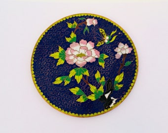 Chinese Cloisonné Peonies Plate.