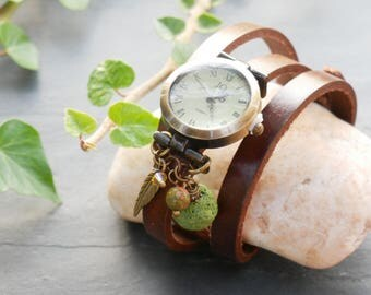 Lava bead charms watch, essential oil diffuser aromatherapy  jewel watch