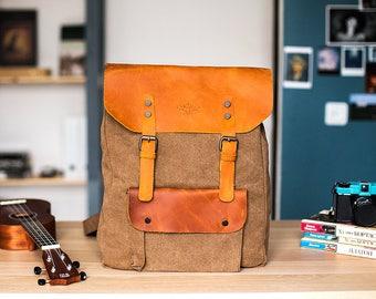 Canvas rucksack, canvas backpack, craft backpack, women backpack, travel rucksack, leather rucksack, rucksack for men, rucksack for women