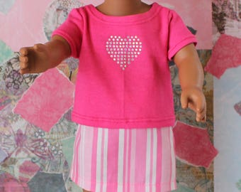 18 Inch Doll Clothes, American Girl Doll Clothes, Doll Clothes, Pink T-Shirt with a Pink and White Skirt