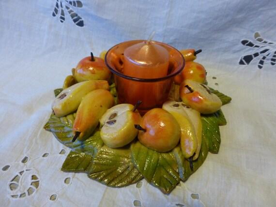 Bougeoir automne artisanal en pate a sel - Bougeoir pate a sel ...
