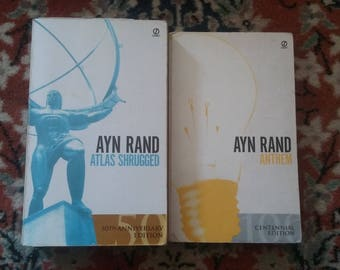 2 Ayn Rand Paperback Novels, Atlas Shrugged and Anthem