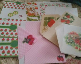 Vintage Stationery Collection ~ Strawberries, Strawberries, & More Strawberries Large Collection