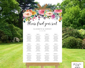 Seating Chart Poster Template, Sign, Printable, Instant Download, Editable Signs, Please Find Your Seat, Floral, Wedding, Downloadable