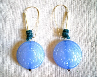 Antique designer EARRINGS blue