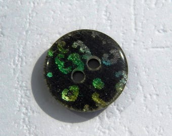 set of 3 iridescent multicolored/black 15 mm flat buttons