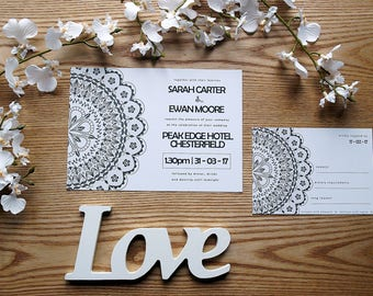 Mandala Black and White Personalised Wedding Invite & RSVP Card Set with Envelopes
