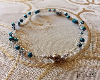 hand crocheted wire bracelet with beads