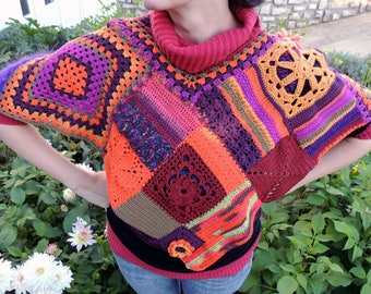 Multicolored crocheted, cotton and wool poncho.
