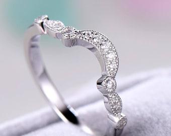 Antique Wedding Band White Gold Sterling Silver CZ Curved U Shaped Engagement ring Unique Bridal Promise Art Deco Milgrain Half Eternity Set