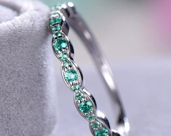 Lab Green Emerald Wedding Band WHite Gold 925 Sterling Silver Art Deco Half Eternity Marquise Bridal Promise Stacking Matching Ring Set Gift