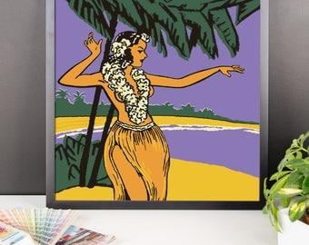 Kalua Dancing Girl Framed poster