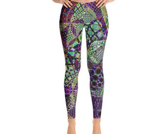 Yoga Leggings - Full Leg Leggings - Exercise Leggings - Festival Leggings - Printed Leggings - Stained Glass Window Leggings