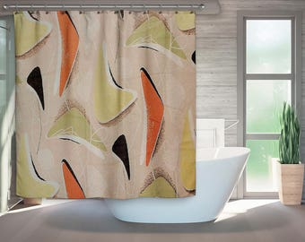 Mid Century Modern Shower Curtain Retro Bath Bathroom