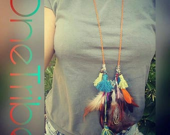 Bohemian style tassel and feather necklace