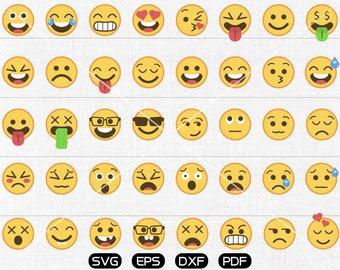 40 Emoji Clipart, Emoji Silhouette Svg, Emoticon SVG, Emoji Face svg, Feeling Face SVG, cricut, silhouette cut files commercial use