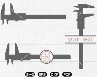 caliper Svg, Vernier caliper Clipart, Monogram Frame cricut, cameo, silhouette cut files commercial & personal use