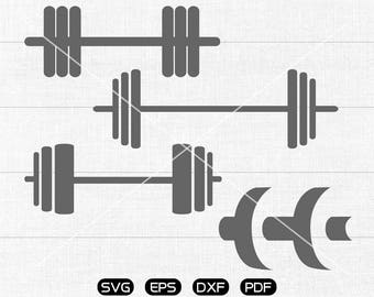 Dumbbell svg Files, Fitness, Workout Clipart, cricut, cameo, silhouette cut files commercial & personal use