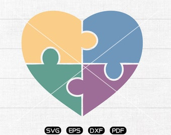 Autism heart puzzle awareness Svg, Heart Clipart, cricut, cameo, silhouette cut files commercial & personal use