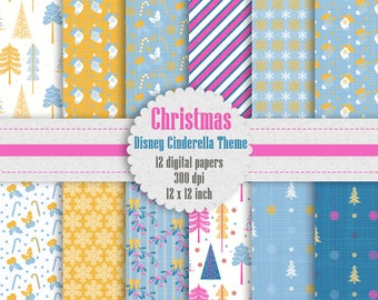 12 Christmas Digital Paper in Disney Cinderella Theme Color 12 inch 300 Dpi Instant Download, Pink Papers, Scrapbook Papers, Commercial Use