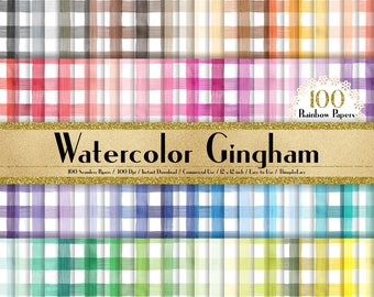 """100 Seamless Watercolor Gingham Papers in 12"""" x 12"""", 300 Dpi Planner Paper, Commercial Use, Scrapbook Paper,Rainbow Paper, 100 Papers"""