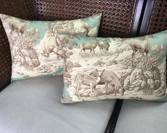 Forest-themed Toile Pillow Set (Includes both pillows)