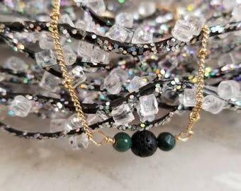 Delicate Gold Lava Diffuser Bracelet with Green Jasper accents