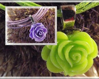 NECKLACE pendant purple or green DrawString cotton gift cheap