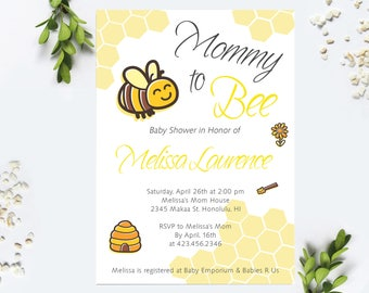 Mommy to Bee Baby Shower Invitation, Baby Shower Invitation Girl, Baby Shower Invitation Boy, Bee Baby Shower Invitation, Bee Invitation