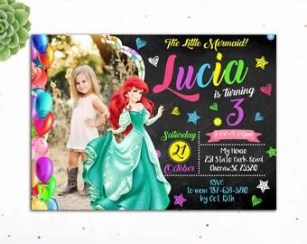 Customizable- Ariel Birthday Invitation, Princess Birthday Invitation,Birthday Invitations for Girls,The Little Mermaid Party,Mermaid Invite