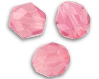 Facettes 6 mm Rose Opal x 5 - verre de bohème - création bijoux