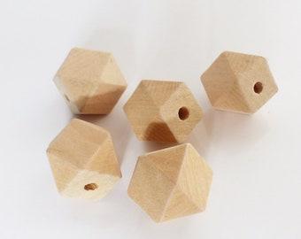 5 perles polygonales en Bois Naturel Brut - 18 mm - bois de hêtre - bois non traité - création bijoux - déco Hygge