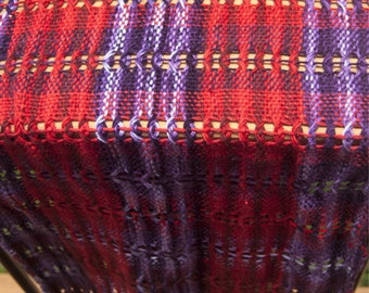 Handwoven Red and Purple Scarf
