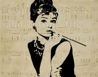 Audrey Hepburn svg, Audrey Hepburn Silhouette, Audrey Hepburn Cricut Design, Audrey Hepburn T Shirt, Audrey Hepburn Vinyl Decal,