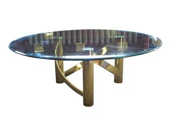 Vintage Mid Century Modern Hollywood Regency Brass and Glass Coffee Table