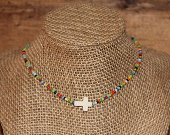 Multi-colored Beaded Cross Choker