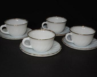 FIRE KING, Gold Swirl, 4, Coffee/Tea cup and saucer set, Fire King Golden Anniversary, 1950s Vintage Milkglass Set, 22K Gold Trim, Wedding