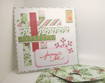 Merry Christmas with matching envelope handmade card