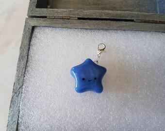 Charms / blue kawaii star charm in polymer clay