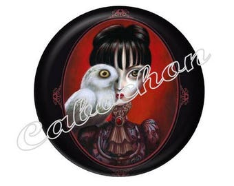 2 cabochons 20mm glass woman Gothic character