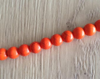 Howlite round beads 10 x 8 mm orange beads