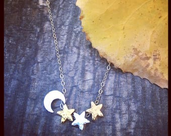 Moon Stars Necklace | Celestial Wicca Jewelry| Hammered Handcrafted | 22K Gold Sterling Silver Dainty Necklace