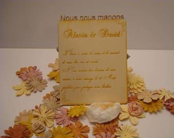 Lot 10 02076 wooden wedding invitation