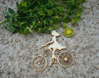 woman bicycle 02031 embellishment wooden creations