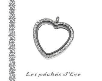 X 1 PENDANT charm RHINESTONE heart shape