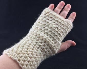 Fingerless gloves mitts texting hand wrist warmers wool ivory cream white